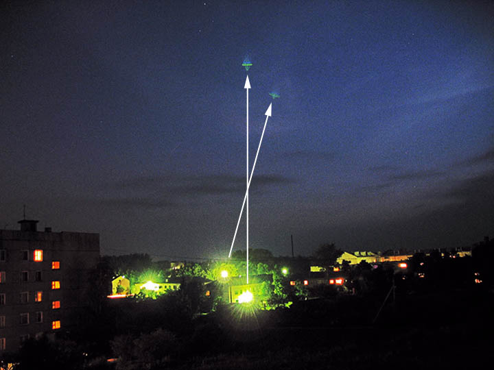 "графично изображение на източниците на светлина за ""парашутите"""