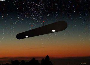 Илюстрация на цигарообразното НЛО над Стефанвил